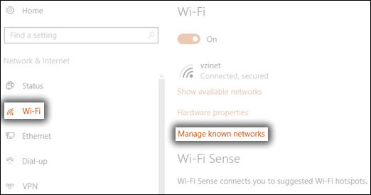 WiFi and Known Networks