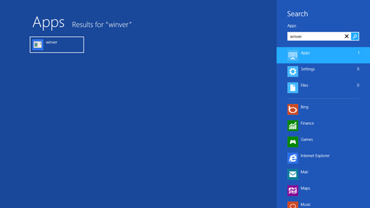 Windows 8 Search screen, winver