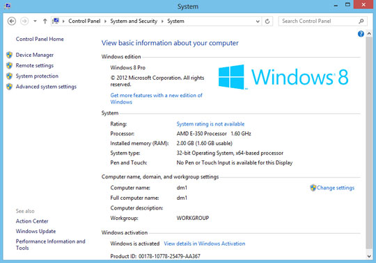Windows 8 System screen