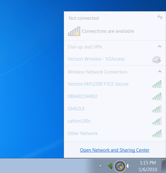 System tray Wireless network screen