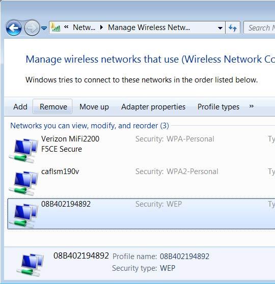 Pantalla Administra la red wireless