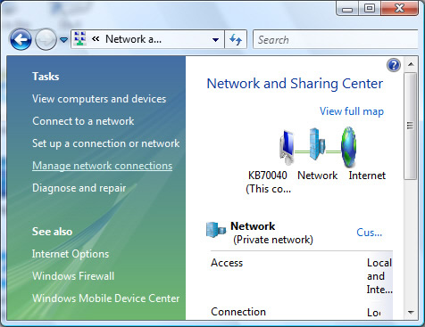 Network and Sharing Center y opción Manage network connections
