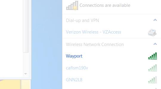 Conexiones móviles disponibles
