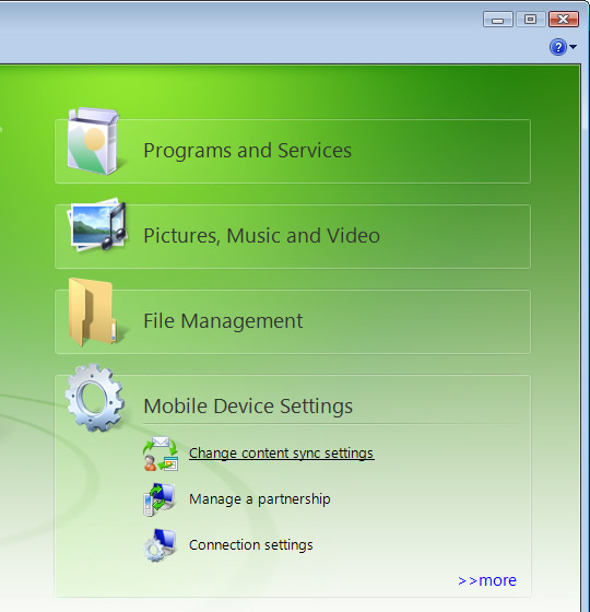 configure tasks sync settings windows mobile device center wmdc rh verizonwireless com Topcon Windows Mobile Device Center Mobile Device Center Windows 7
