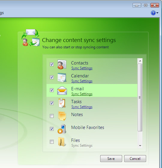 Change Content Sync Settings screen, focus on E-mail