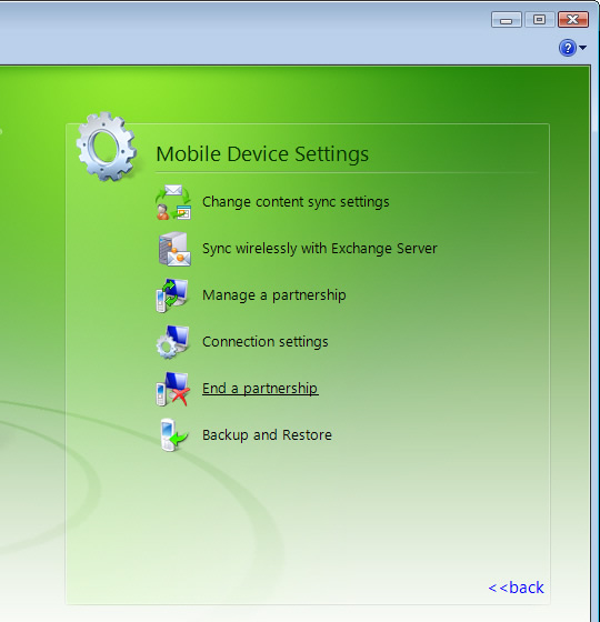 Menú de Mobile Device Settings