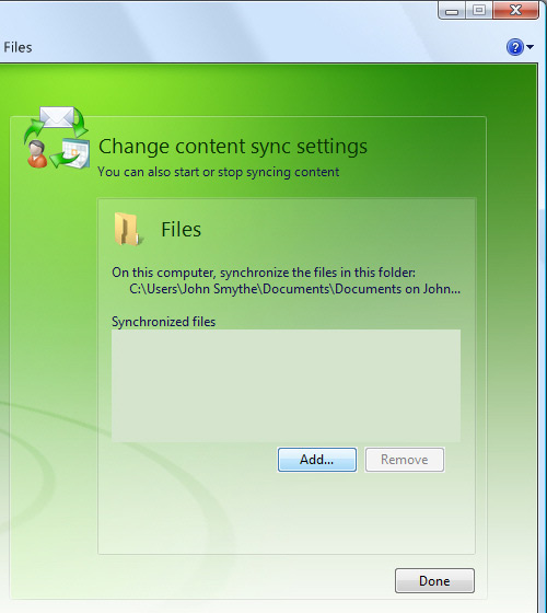 Change Content Sync Settings screen, focus on adding a file