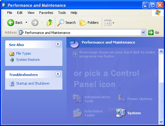 Performance and Maintenance menu with focus on selecting System