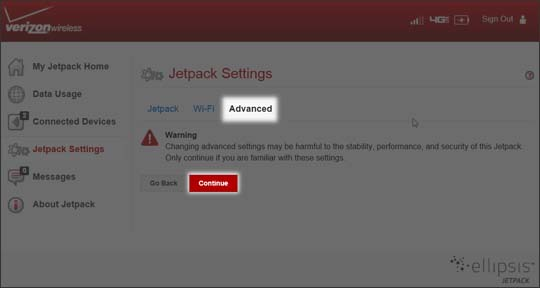 Selecciona Continue en Jetpack Settings Advanced