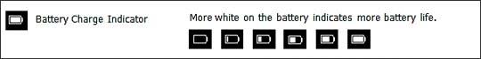 Vista de iconos de pantalla con indicador de carga de la batería