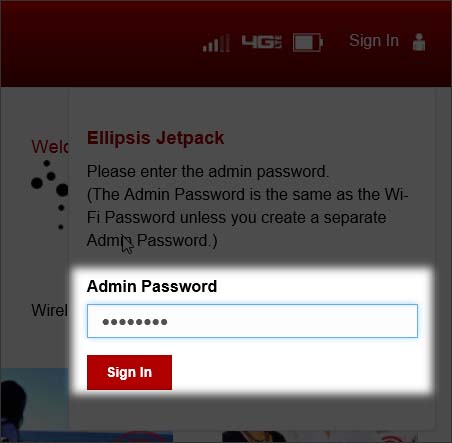 Home Page Sign in enter the Admin password then select Sign In