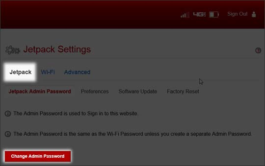 Jetpack select Change Admin Password