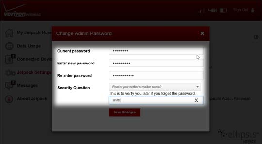 Jetpack Change Admin Password enter information in the fields