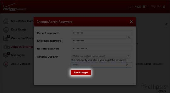 Jetpack Change Admin Password select Save Changes