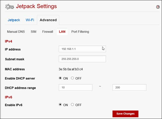 Seleccionar LAN en Jetpack Settings Advanced