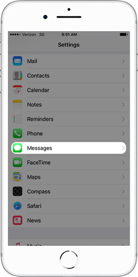iPhone Settings screen with emphasis on Messages