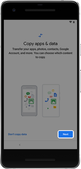 Copy apps & data screen with emphasis on Next button