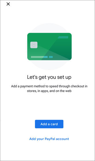 Google Pay Add a card screen