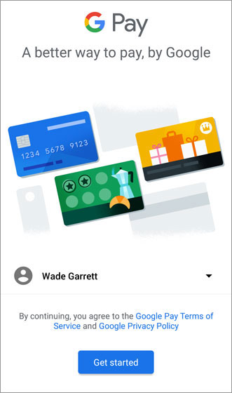 Google Pay Get Started screen