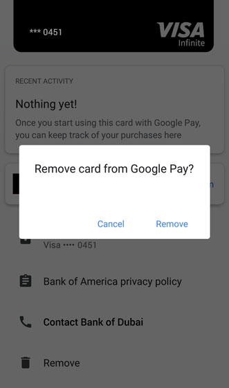 Google Pay card removal confirmation