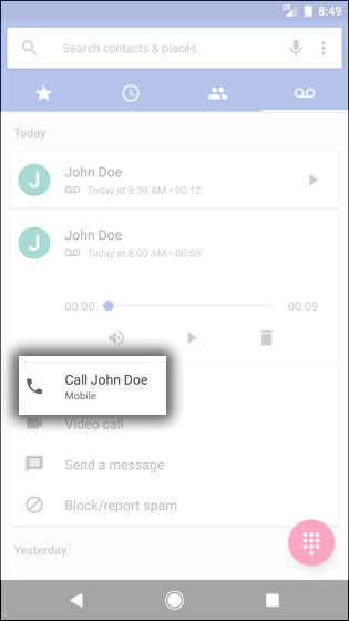 Voice Mail Place Callback
