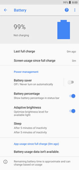 Battery usage options