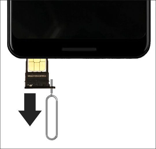 remove sim tray from phone
