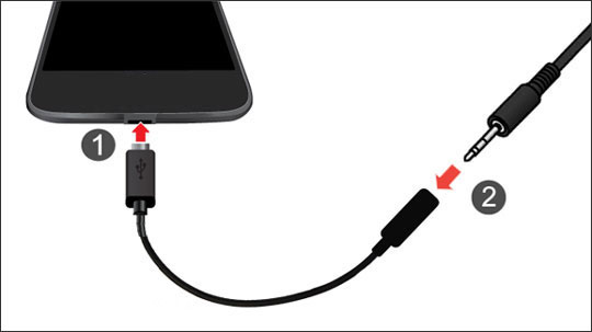 Smartphone with USB Type-C to 3.5mm adapter