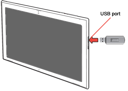 USB port with USB adapter and USB flash drive