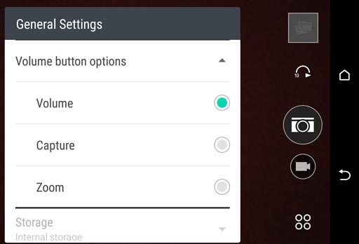 camera volume button settings