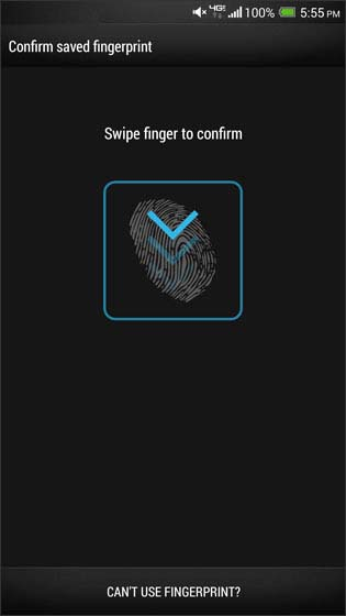 Confirm stored fingerprint