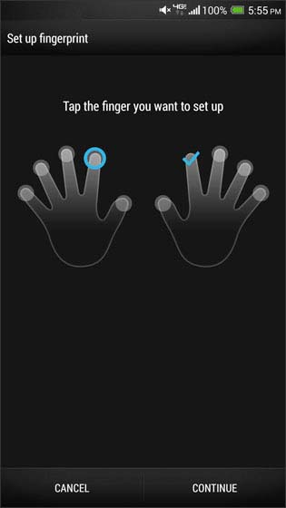 Fingerprint, pantalla finger selection