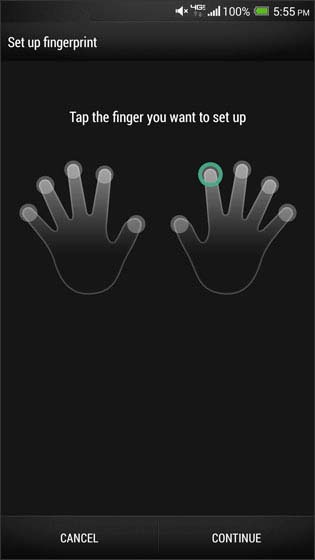 Fingerprint finger selection screen