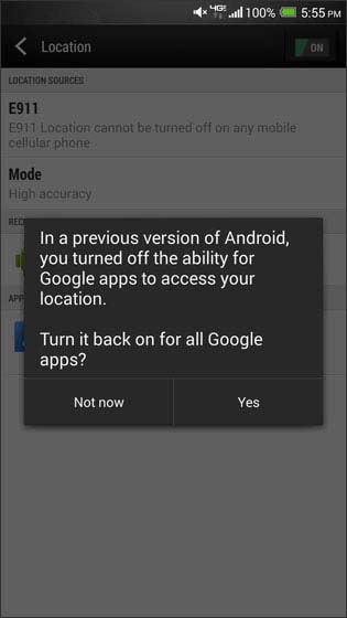 Enable Google Apps location consent