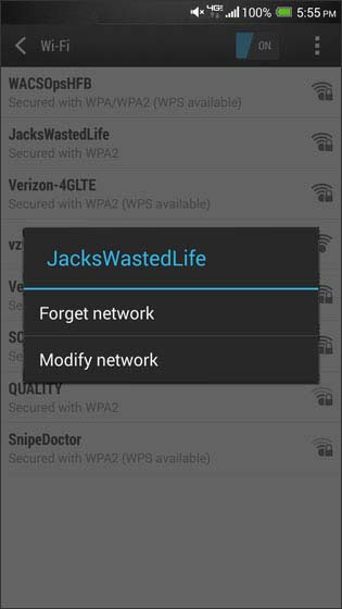 Wi-Fi forget network screen