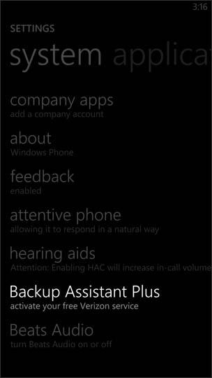 Selecciona Backup Assistant Plus