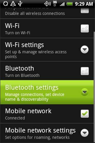Configuraciones de Bluetooth