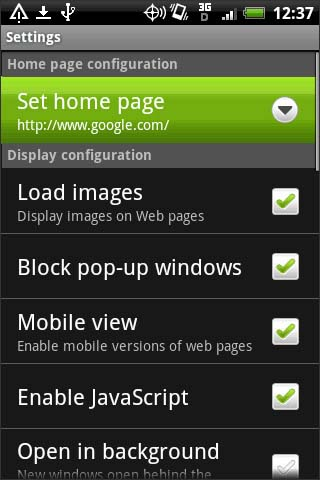 Browser settings, opción Set home page
