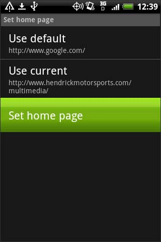 Browser Set home page