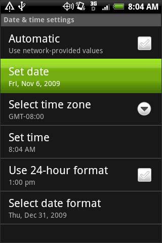 Configurar fecha