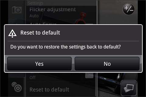 Reset to default confirmation