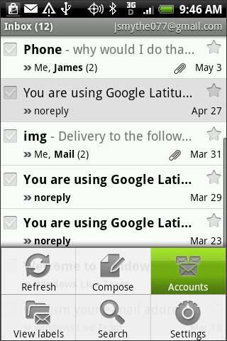 Configuración del menú de Gmail