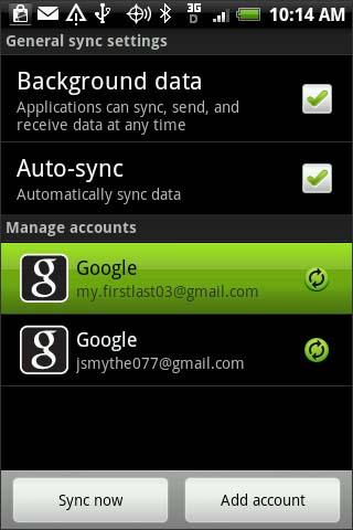 Configuración de sincronización general
