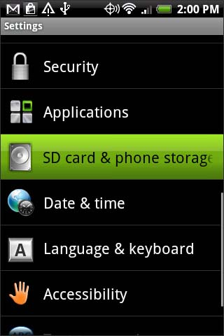 SD Card & phone storage