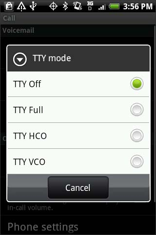 TTY mode screen