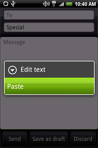 Pasting text