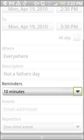 Menú desplegable Reminders