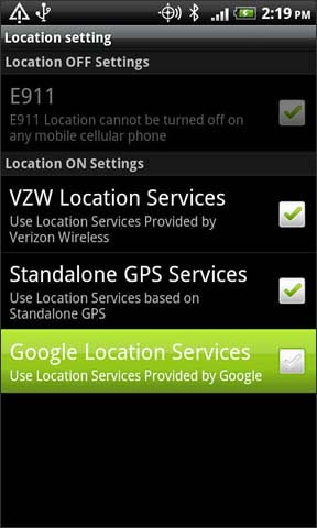 Google Location services