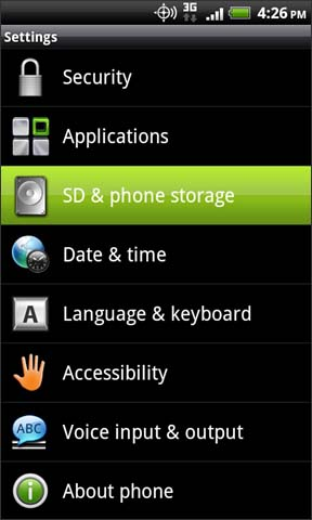 Settings with SD & phone storage
