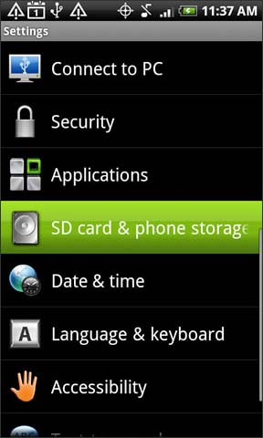 SD card and phone storage